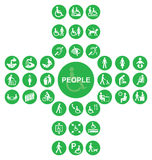 Green cruciform disability and people Icon collection Royalty Free Stock Image