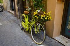 Green Cruiser Beach Bike With Yellow Flower on Basket Stock Photography
