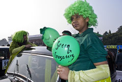 Green Crusaders. Young Indian children are dressed up with highlighting environmental issues in a vintage car fashion show in Kolkata Stock Images