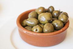 Green crushed marinated olives Royalty Free Stock Photography