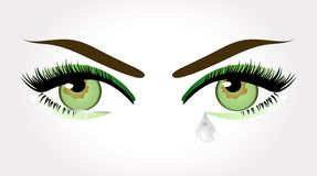 Green crying eyes Royalty Free Stock Image