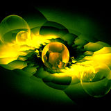 Green Crystal Bubbles Concept With Reflection Stock Images