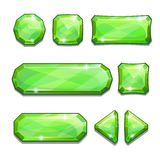 Green crystal buttons Royalty Free Stock Images