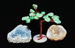 Green Crystal tree and quartz Royalty Free Stock Image