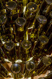 Green crystal wine bottles Royalty Free Stock Image