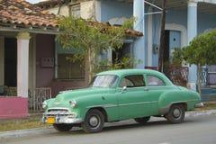 Green Cuban Classic Car. Cuba. Green Cuban old classic car parked in street, Vinales, Cuba Stock Photos