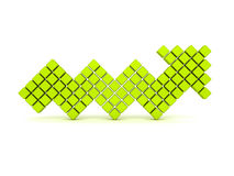 Green cube arrow going up on white background. 3d render illustration of success Stock Photos