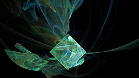 Green cube curves and waves abstract background Royalty Free Stock Image
