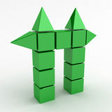 Green Cube Gate. Green 3d cube and pyramid shapes forming a gate Stock Images