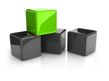 Green cube Stock Photography
