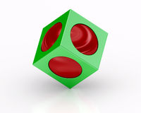 Green cube and red sphere on white background Stock Images