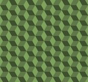 Green cube. vector seamless pattern with rhombus. Abstract geometric background. visual illusion Stock Images