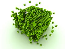 Green cubes. 3d rendered illustration of many abstract green cubes Royalty Free Stock Photos