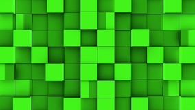 Green cubes assemble on blue background. Green cubes from opposite directions are shifted filling the blue screen and assembled into the wall. Abstract royalty free illustration
