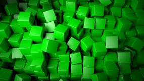 Green cubes background. 3d abstract green cubes background Royalty Free Stock Photos