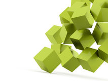 Green cubes crashed concept rendered Stock Image