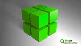 Green Cubes. On the gray background. Vector elements. Abstract symbols Stock Images