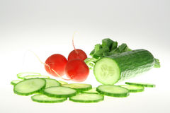 Green Cucumber and red radish. On white background stock photos