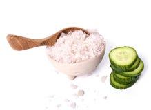 Green cucumber and sea salt Stock Photography