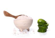 Green cucumber and sea salt Stock Image