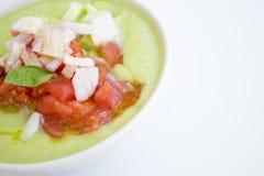 Green cucumber and tomato gazpacho