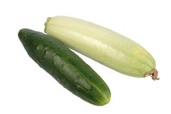 Green cucumber and zucchini. Stock Photos