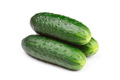 Green cucumbers isolated Stock Images
