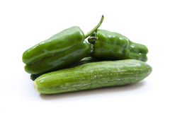 Green cucumbers and paprika Royalty Free Stock Images