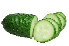 Green cucumbers on a white background Royalty Free Stock Photography