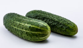 green cucumbers  on a white background Stock Photo