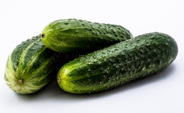 green cucumbers  on a white background Royalty Free Stock Photos