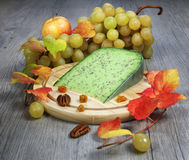 Green cumin pesto cheese, grape and autumn leaves Stock Images