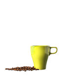 Green cup of coffee and beans on white background Stock Photo
