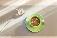 Green cup of coffee Royalty Free Stock Images