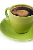 Green cup of coffee Stock Photos