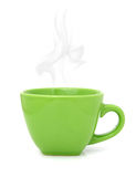 Green cup with hot drink on white Royalty Free Stock Images