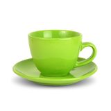 Green cup with saucer Royalty Free Stock Images