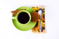 Green a Cup of tea and oat biscuits Royalty Free Stock Images