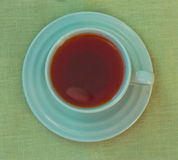 Green cup of tea. View from above Stock Photos