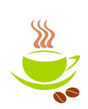 Green cup with warm coffee and beans. Simple symbolic green coffee cups and two beans vector illustration