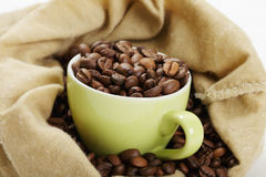 Green Cup With Coffee In Bag Closeup Royalty Free Stock Photos