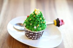 Christmas tree cupcake. On a plate stock images