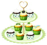 Green cupcakes with a stand Royalty Free Stock Images