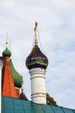 Green cupolas of an old orthodox church in Yaroslavl, Russia. Royalty Free Stock Photos