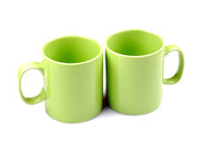 Green cups. Isolated on white background Royalty Free Stock Photo