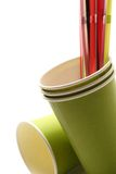 Green cups with straws Stock Photo