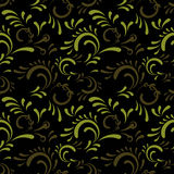 Green curl seamless pattern. Green curl on black backdrop,  seamless pattern for repeat design Royalty Free Stock Image
