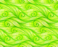 Green curled vector waves seamless pattern Royalty Free Stock Photo