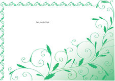 Green curly frame with leaves Royalty Free Stock Images