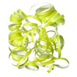 Green curly party streamer  Stock Photography